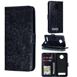 Intricate Embossing Lace Jasmine Flower Leather Wallet Case for Motorola Moto Z3 Play - Dark Blue
