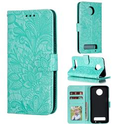 Intricate Embossing Lace Jasmine Flower Leather Wallet Case for Motorola Moto Z3 Play - Green