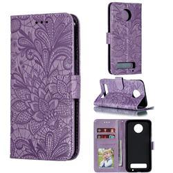 Intricate Embossing Lace Jasmine Flower Leather Wallet Case for Motorola Moto Z3 Play - Purple
