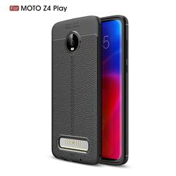 Luxury Auto Focus Litchi Texture Silicone TPU Back Cover for Motorola Moto Z4 Play - Black