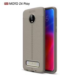 Luxury Auto Focus Litchi Texture Silicone TPU Back Cover for Motorola Moto Z4 Play - Gray