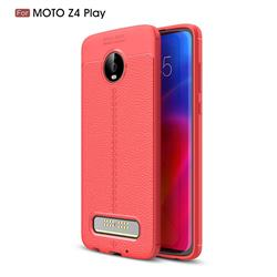 Luxury Auto Focus Litchi Texture Silicone TPU Back Cover for Motorola Moto Z4 Play - Red