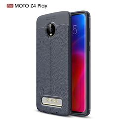 Luxury Auto Focus Litchi Texture Silicone TPU Back Cover for Motorola Moto Z4 Play - Dark Blue