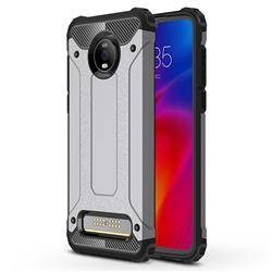 King Kong Armor Premium Shockproof Dual Layer Rugged Hard Cover for Motorola Moto Z4 Play - Silver Grey