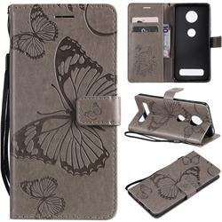 Embossing 3D Butterfly Leather Wallet Case for Motorola Moto Z4 Play - Gray