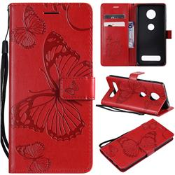 Embossing 3D Butterfly Leather Wallet Case for Motorola Moto Z4 Play - Red