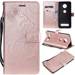 Embossing 3D Butterfly Leather Wallet Case for Motorola Moto Z4 Play - Rose Gold
