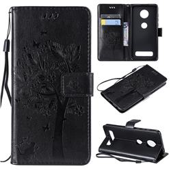Embossing Butterfly Tree Leather Wallet Case for Motorola Moto Z4 Play - Black