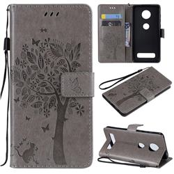 Embossing Butterfly Tree Leather Wallet Case for Motorola Moto Z4 Play - Grey