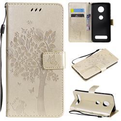 Embossing Butterfly Tree Leather Wallet Case for Motorola Moto Z4 Play - Champagne