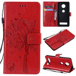 Embossing Butterfly Tree Leather Wallet Case for Motorola Moto Z4 Play - Red