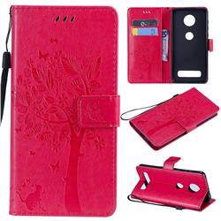Embossing Butterfly Tree Leather Wallet Case for Motorola Moto Z4 Play - Rose