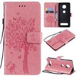 Embossing Butterfly Tree Leather Wallet Case for Motorola Moto Z4 Play - Pink