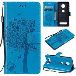 Embossing Butterfly Tree Leather Wallet Case for Motorola Moto Z4 Play - Blue