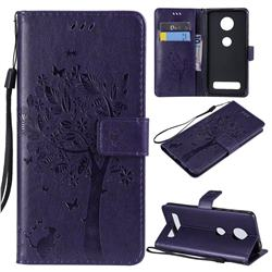 Embossing Butterfly Tree Leather Wallet Case for Motorola Moto Z4 Play - Purple