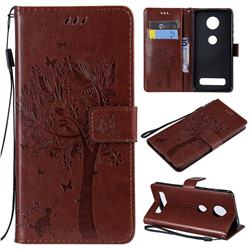 Embossing Butterfly Tree Leather Wallet Case for Motorola Moto Z4 Play - Coffee