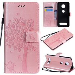 Embossing Butterfly Tree Leather Wallet Case for Motorola Moto Z4 Play - Rose Pink