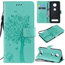 Embossing Butterfly Tree Leather Wallet Case for Motorola Moto Z4 Play - Cyan