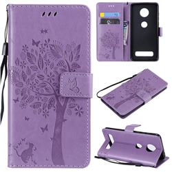 Embossing Butterfly Tree Leather Wallet Case for Motorola Moto Z4 Play - Violet