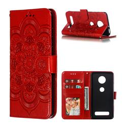 Intricate Embossing Datura Solar Leather Wallet Case for Motorola Moto Z4 Play - Red