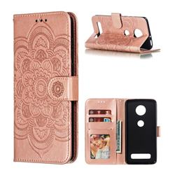 Intricate Embossing Datura Solar Leather Wallet Case for Motorola Moto Z4 Play - Rose Gold