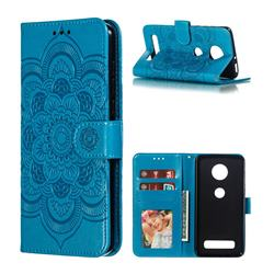 Intricate Embossing Datura Solar Leather Wallet Case for Motorola Moto Z4 Play - Blue