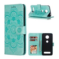 Intricate Embossing Datura Solar Leather Wallet Case for Motorola Moto Z4 Play - Green