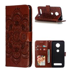 Intricate Embossing Datura Solar Leather Wallet Case for Motorola Moto Z4 Play - Brown