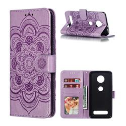 Intricate Embossing Datura Solar Leather Wallet Case for Motorola Moto Z4 Play - Purple