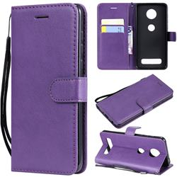 Retro Greek Classic Smooth PU Leather Wallet Phone Case for Motorola Moto Z4 Play - Purple