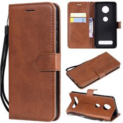 Retro Greek Classic Smooth PU Leather Wallet Phone Case for Motorola Moto Z4 Play - Brown