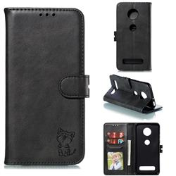 Embossing Happy Cat Leather Wallet Case for Motorola Moto Z4 Play - Black