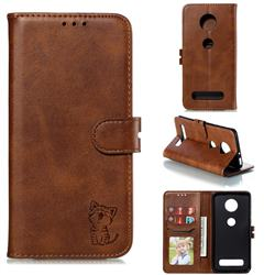 Embossing Happy Cat Leather Wallet Case for Motorola Moto Z4 Play - Brown