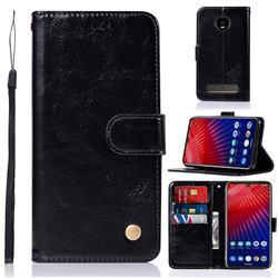 Luxury Retro Leather Wallet Case for Motorola Moto Z4 Play - Black