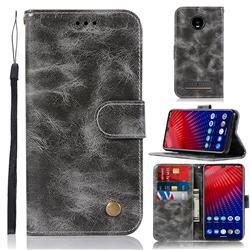 Luxury Retro Leather Wallet Case for Motorola Moto Z4 Play - Gray