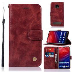 Luxury Retro Leather Wallet Case for Motorola Moto Z4 Play - Wine Red