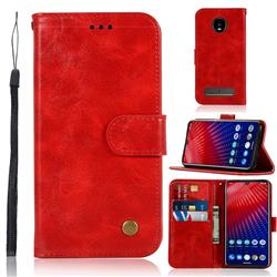Luxury Retro Leather Wallet Case for Motorola Moto Z4 Play - Red