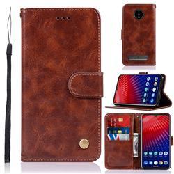 Luxury Retro Leather Wallet Case for Motorola Moto Z4 Play - Brown