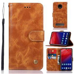 Luxury Retro Leather Wallet Case for Motorola Moto Z4 Play - Golden