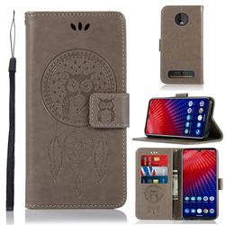 Intricate Embossing Owl Campanula Leather Wallet Case for Motorola Moto Z4 Play - Grey