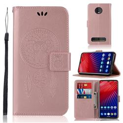 Intricate Embossing Owl Campanula Leather Wallet Case for Motorola Moto Z4 Play - Rose Gold