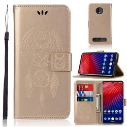 Intricate Embossing Owl Campanula Leather Wallet Case for Motorola Moto Z4 Play - Champagne