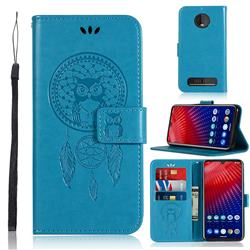 Intricate Embossing Owl Campanula Leather Wallet Case for Motorola Moto Z4 Play - Blue