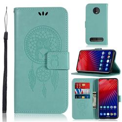 Intricate Embossing Owl Campanula Leather Wallet Case for Motorola Moto Z4 Play - Green