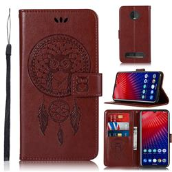 Intricate Embossing Owl Campanula Leather Wallet Case for Motorola Moto Z4 Play - Brown