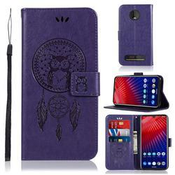 Intricate Embossing Owl Campanula Leather Wallet Case for Motorola Moto Z4 Play - Purple