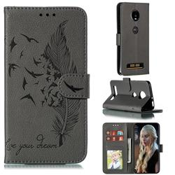 Intricate Embossing Lychee Feather Bird Leather Wallet Case for Motorola Moto Z4 Play - Gray