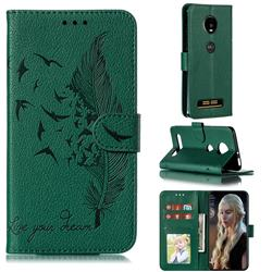 Intricate Embossing Lychee Feather Bird Leather Wallet Case for Motorola Moto Z4 Play - Green