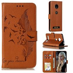 Intricate Embossing Lychee Feather Bird Leather Wallet Case for Motorola Moto Z4 Play - Brown