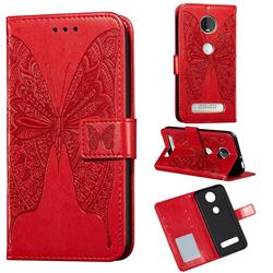 Intricate Embossing Vivid Butterfly Leather Wallet Case for Motorola Moto Z4 Play - Red